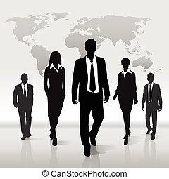 mapa, silueta, empresarios, encima, caminata, mundo, grupo