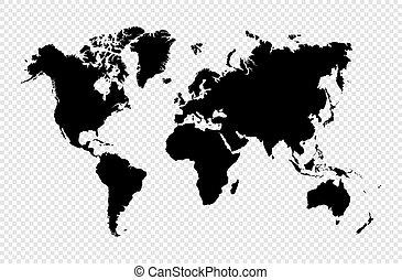 mapa, silueta, eps10, aislado, vector, negro, mundo, file.