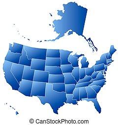 mapa, silueta, estados unidos de américa