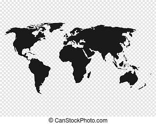 mapa, silueta, ilustração, experiência., vetorial, pretas, mundo, transparente