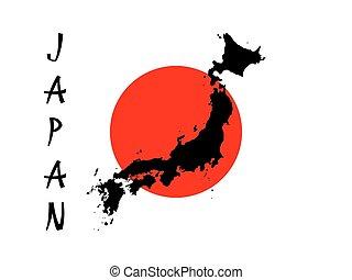 mapa, silueta, negro, japan.