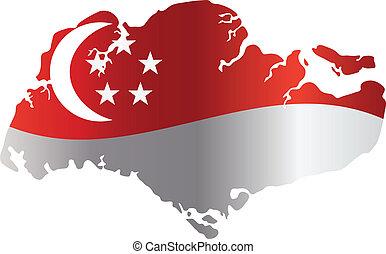 mapa, silueta, singapur, aislado, ilustración, bandera