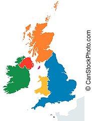 mapa, siluetas, islas, británico, países