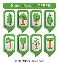mapa, sinal, árvores, jogo
