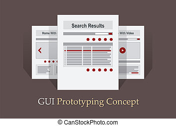 mapa, sitio, vector, internet, prototipo, navegación, ...