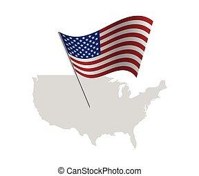 mapa, sjednocený, usa, postavení, prapor, amerika