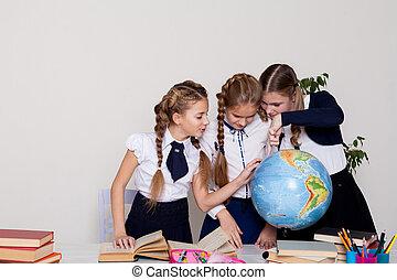 mapa, sluka, tři, školačky, poznat, společnost, lekce, zeměpis