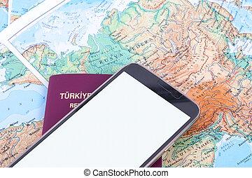 mapa, smartphone, passaporte, mundo