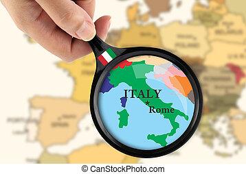 mapa, sobre, itália, lupa