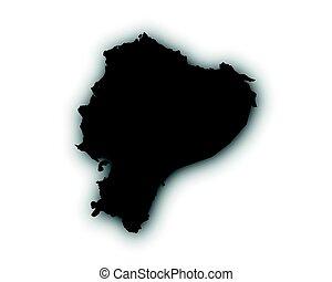 mapa, sombra, ecuador