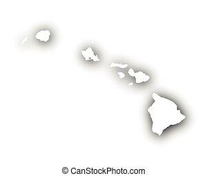 mapa, stín, havaj