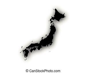 mapa, stín, japonsko