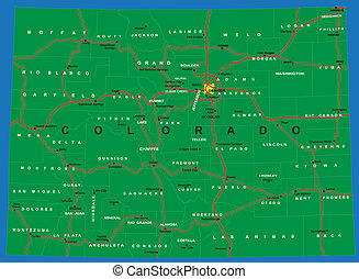 mapa, stan, polityczny, kolorado
