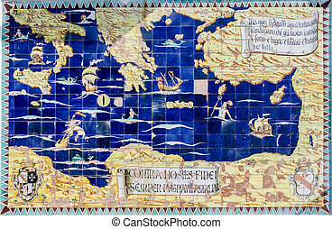 mapa, starożytny, śródziemnomorski