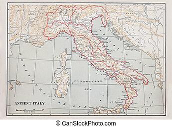 mapa, starobylý, itálie