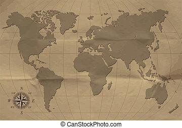 mapa, stary, illustration., wektor, eps10, world.