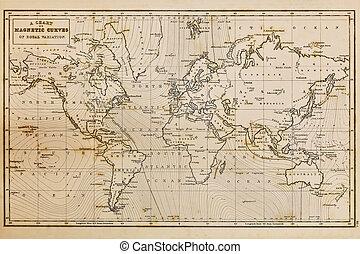 mapa, stary, rocznik wina, ręka, świat, pociągnięty