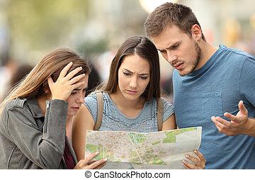 mapa, stracony, trzy, znaleźć, rozmieszczenie, trudny, turyści