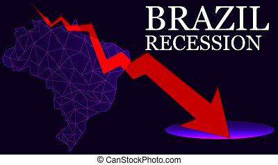 mapa, strzała, wskazany, recesja, brazylia