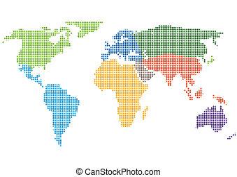 mapa, styl, kontynenty, kropka, świat
