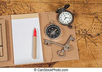 mapa, styl, stary, proces, rocznik wina, nuta książka, busola