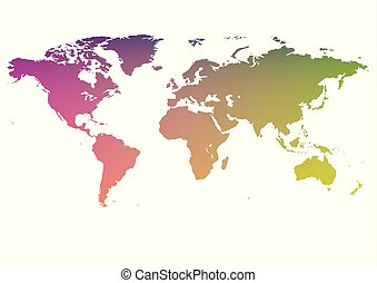 mapa, stylization, arco íris, gradiente, planeta, mundo, terra
