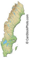 mapa, suécia, -, alívio, 3d-rendering