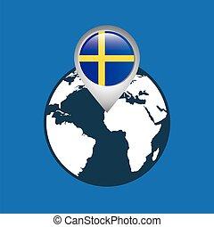 mapa, suécia, ponteiro, bandeira, mundo