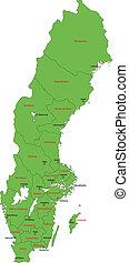 mapa, suécia, verde