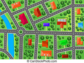 mapa, suburbio
