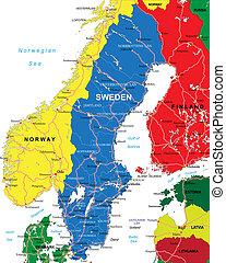 mapa, suecia