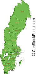 mapa, suecia, verde