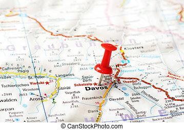 mapa, suizo, davos