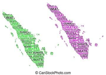 mapa, sumatra, vector, -, ilustración
