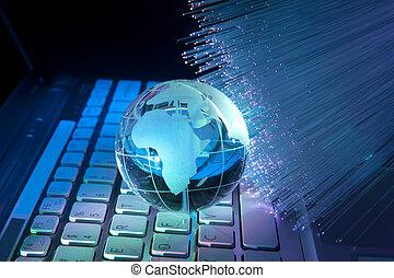 mapa světa, technika, móda, na, optické vlákno, grafické...