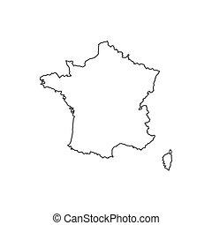 mapa, sylwetka, francja