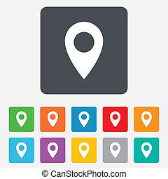 mapa, symbol., rozmieszczenie, icon., wskazówka, gps
