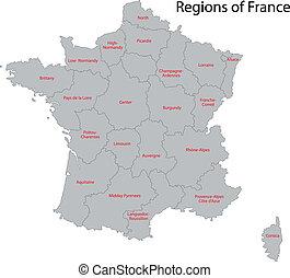 mapa, szary, francja
