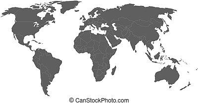 mapa, szary, wektor, świat, biały, brzegi