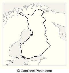 mapa, szkic, kraje, finlandia, highlighted, czarnoskóry, sąsiad, gruby