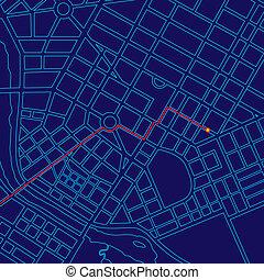 mapa, szlakując, cyfrowy, gps