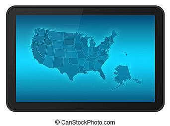 mapa, tableta, estados unidos de américa, pantalla, lcd, tacto