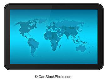 mapa, tableta, pantalla, tacto, mundo, xxl