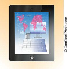 mapa, tabuleta, poupador, digital, terra, tela