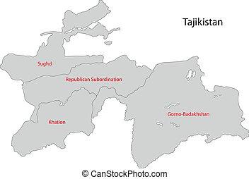 mapa, tadżikistan, szary