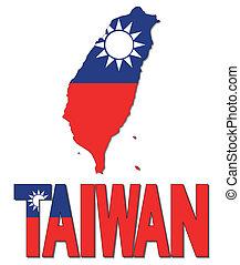 mapa, taiwán, bandera, texto