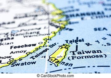 mapa, taiwan, up těký