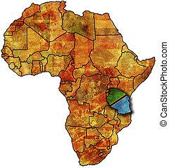 mapa, tanzania, viejo