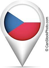 mapa, tcheco, ilustração, bandeira, vetorial, república, ponteiro, shadow.