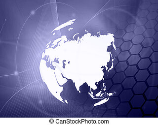 mapa, technology-style, asia, ilustraciones